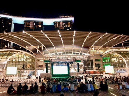 Event Plaza festivities at night - Marina Bay Sands