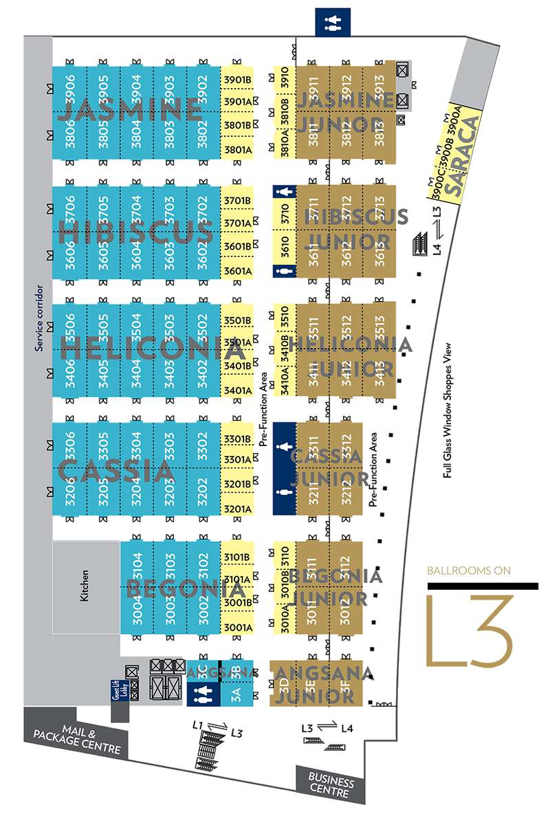 Floorplan: Ballrooms on Level 3 of Sands Expo & Convention Centre