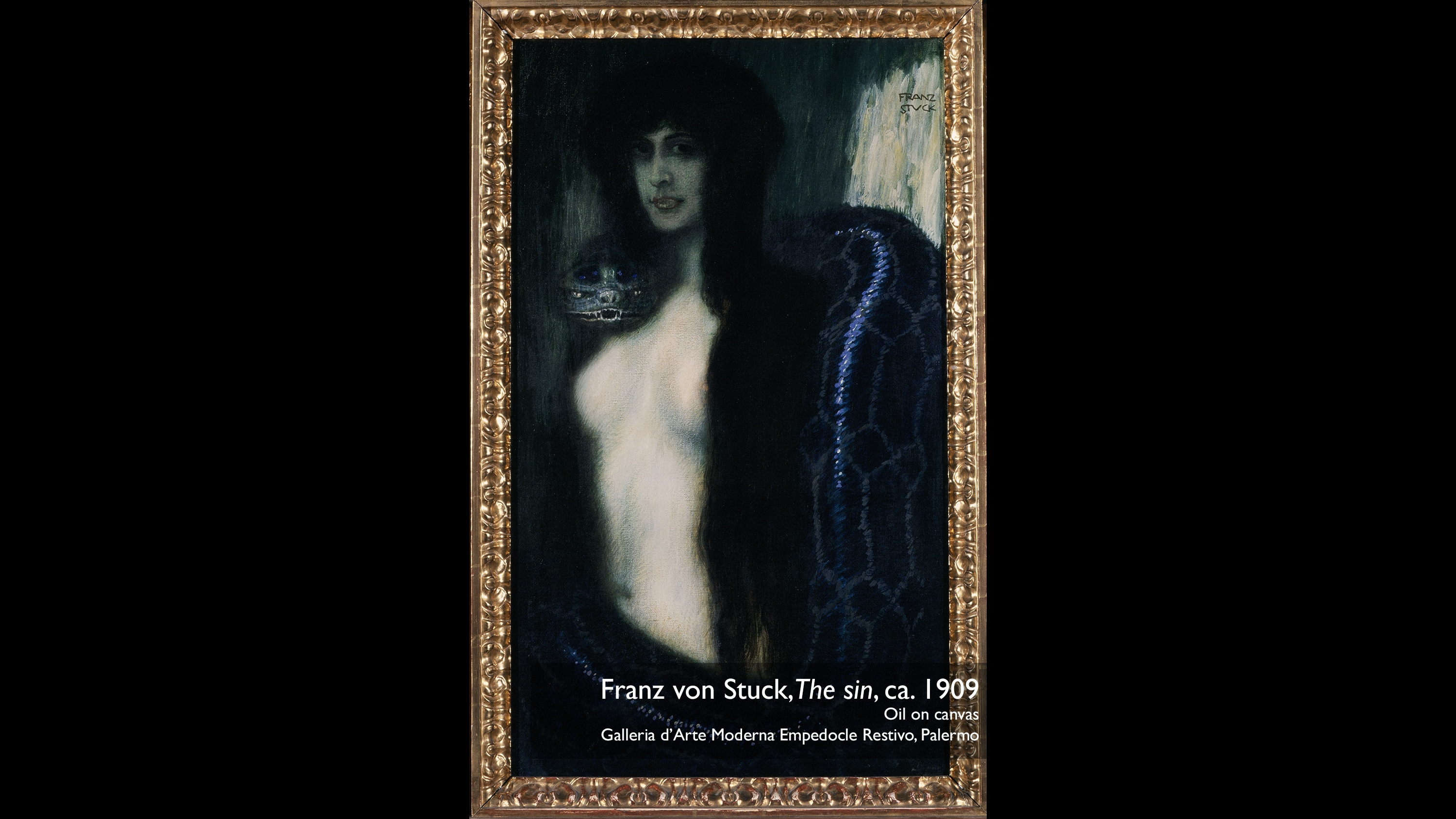 Franz von Stuck,The sin, ca. 1909. Oil on canvas. Galleria d'Arte Moderna Empedocle Restivo, Palermo