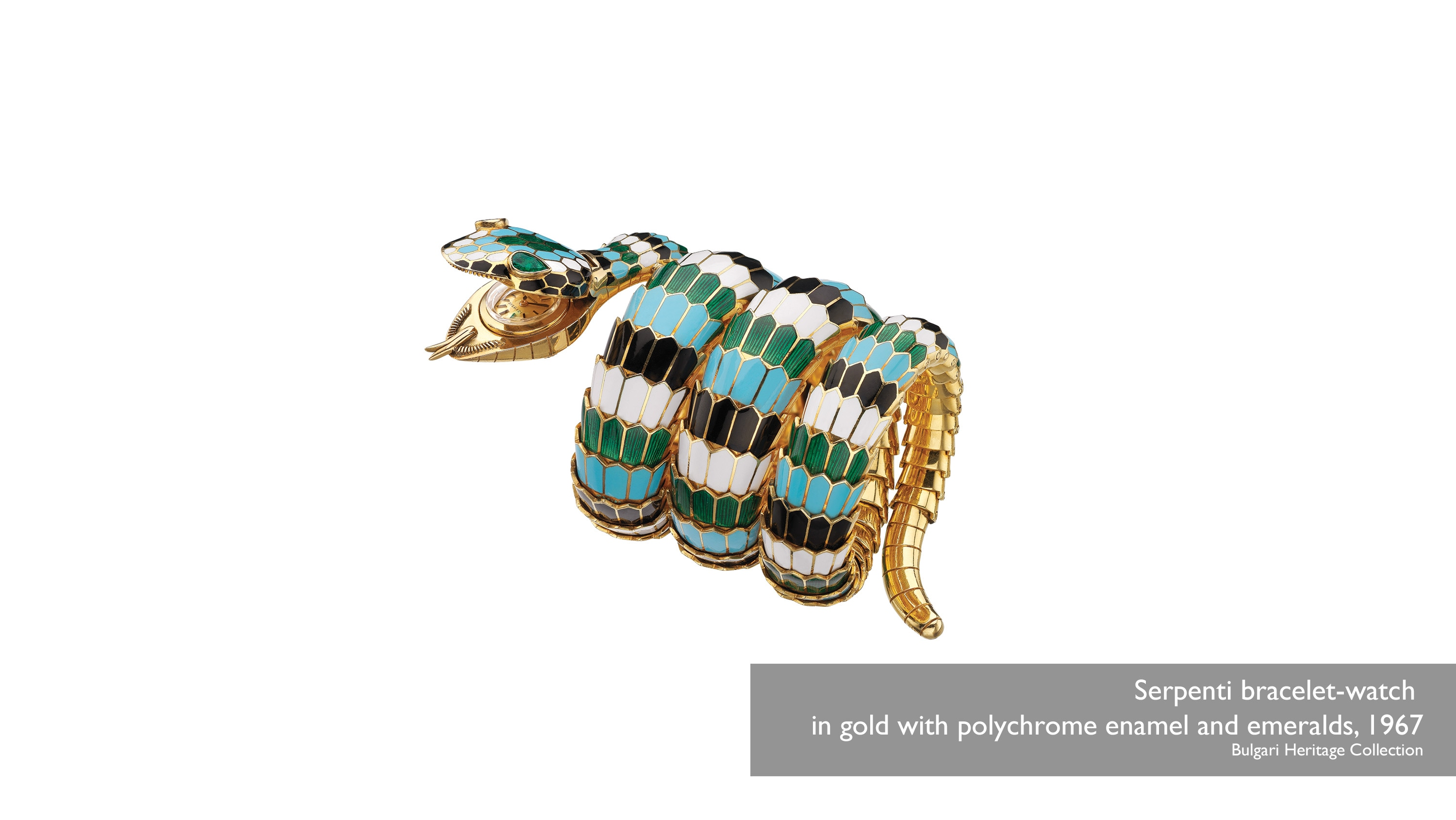 Serpenti bracelet-watch in gold with polychrome enamel and emeralds, 1967 Bulgari Heritage Collection