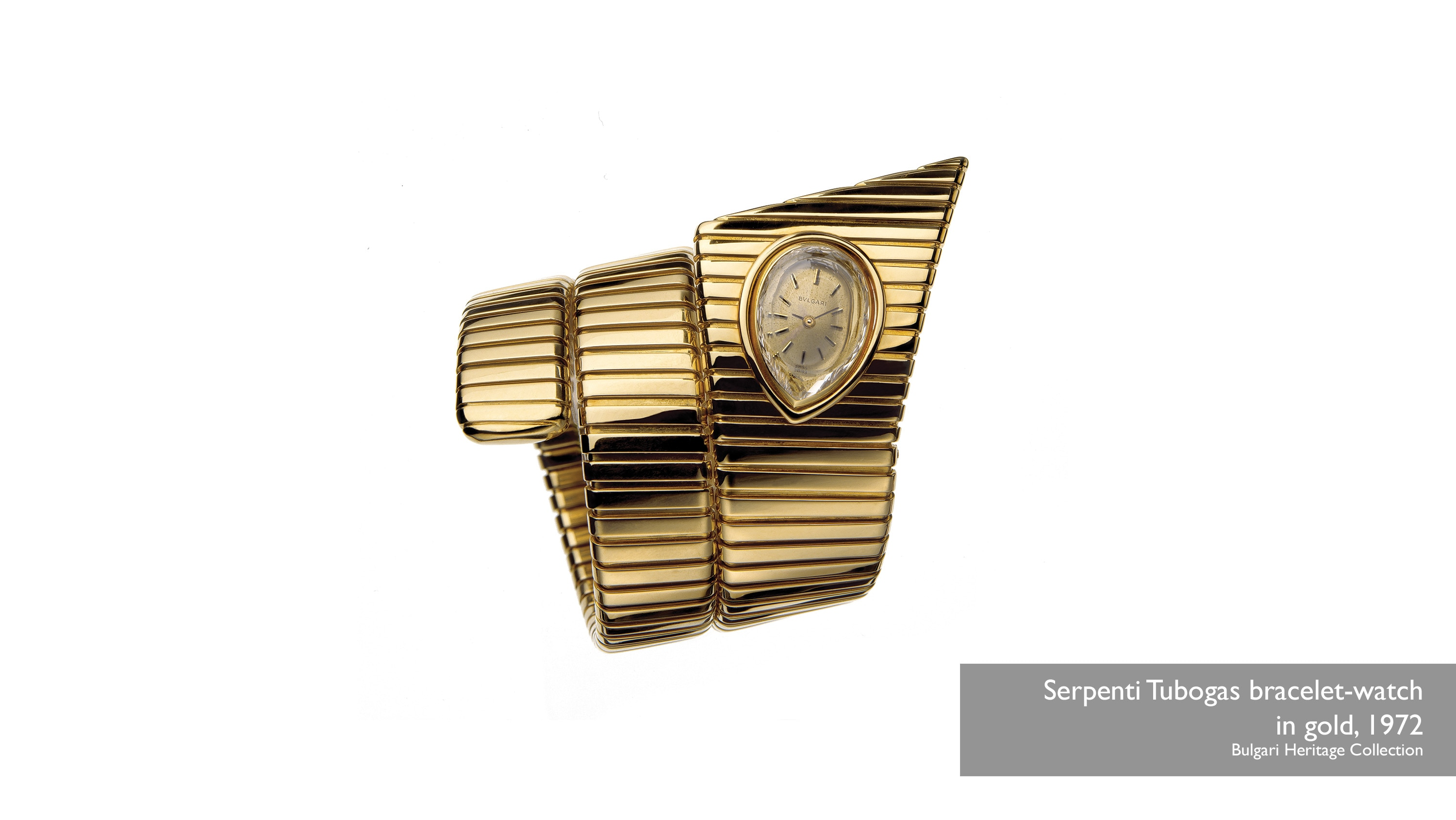 Serpenti Tubogas bracelet-watch in gold, 1972 Bulgari Heritage Collection