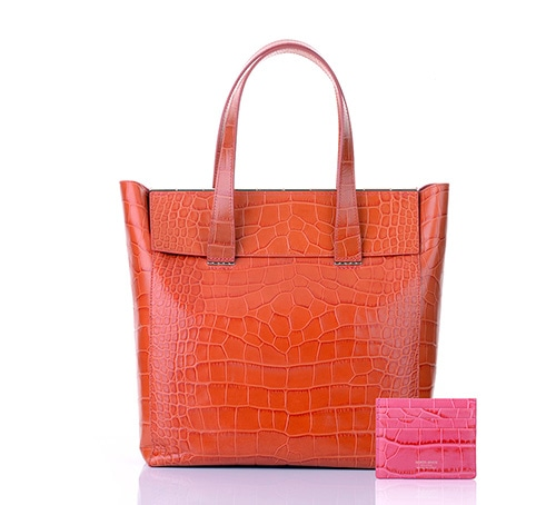 Armani/Marina Bay: Giorgio Armani Mock Croc Shopper bag with credit card holder