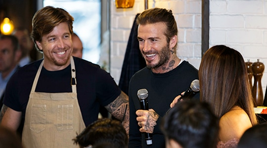 David Beckham with John Kunkel at The Bird